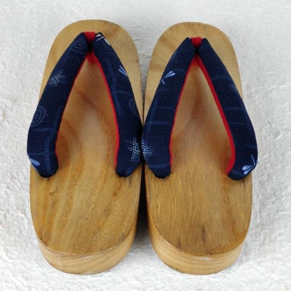 Womens Japanese Wood Geta Sandals Navy dragonfly - Pac West Kimono