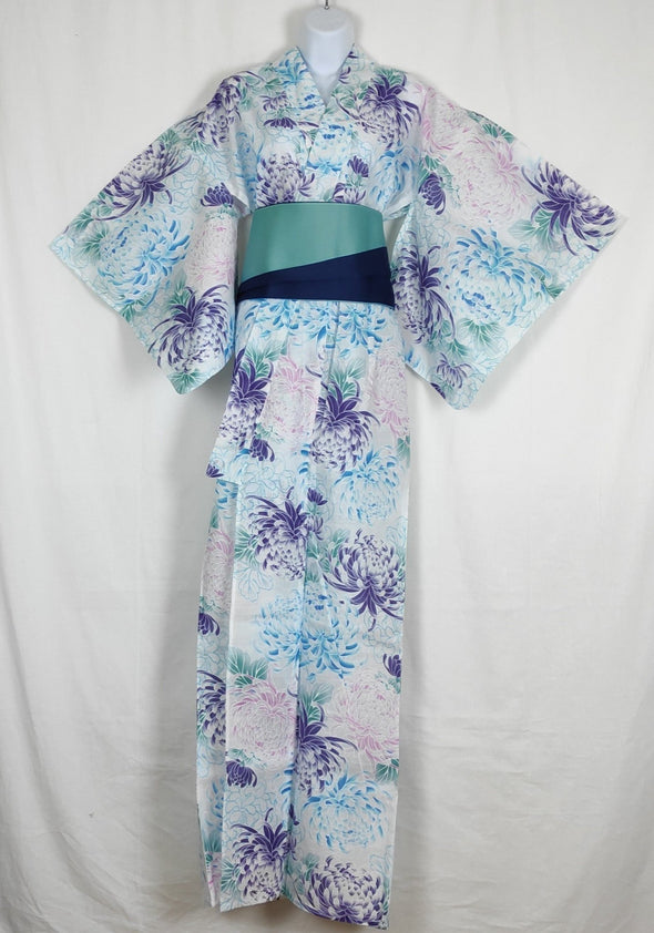 Womens Japanese Yukata. White with blue and purple flowers Womens large yukata. Cotton Japanese kimono- Pac West Kimono