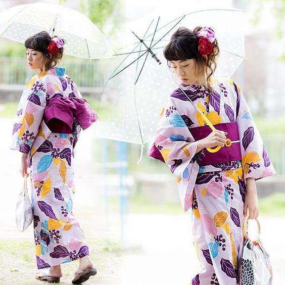 Womens Yukata Large (special size) Colorful Leaves Purple - Pac West Kimono