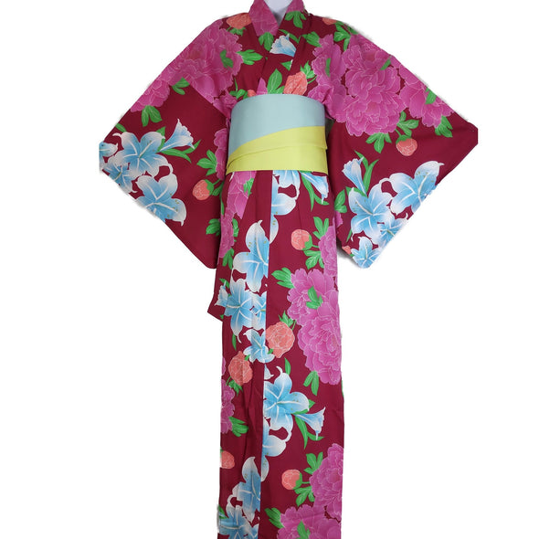 Womens Yukata Red with Lillies and Peonies - Pac West Kimono