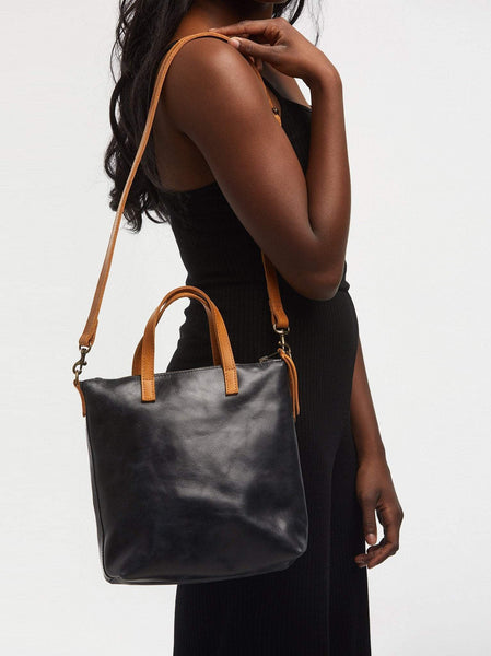 Able Abera Commuter Crossbody Tote in Black/Cognac