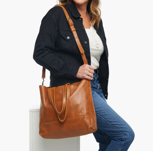 Able Abera Crossbody Tote in Chestnut