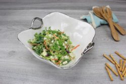Pampa Bay Square Salad/Pasta Bowl in White with Silver Titanium