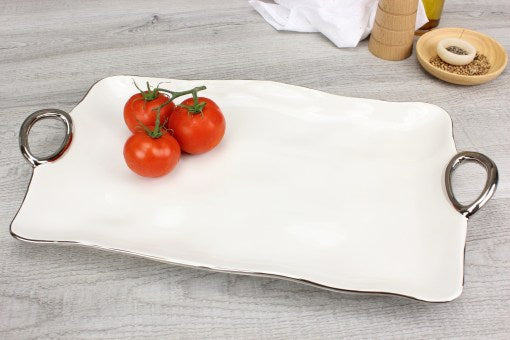 Pampa Bay Large Platter/Serving Tray in White with Silver Titanium