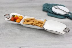 Pampa Bay Three Section Handled Server in White with Silver Titanium