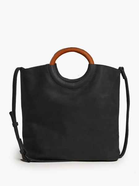 Able Fozi Ring Tote in Black/Whiskey