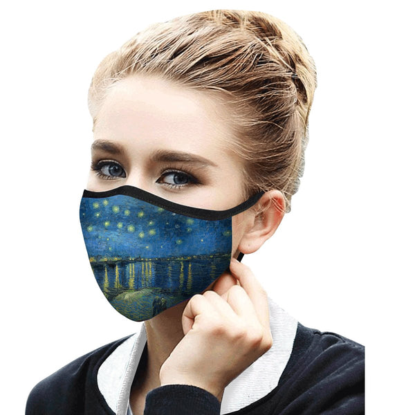 RAINCAPER VAN GOGH STARRY NIGHT OVER THE RHONE REUSABLE FABRIC FACE MASK