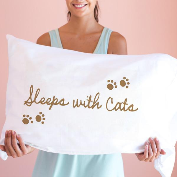 Faceplant Dreams Sleeps with Cats Pillowcase