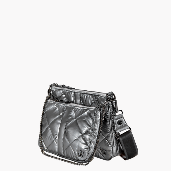 Oliver Thomas Double Trouble Crossbody Bag in Gunmetal
