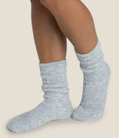 Barefoot Dreams CozyChic Heathered Socks in Blue Water/White