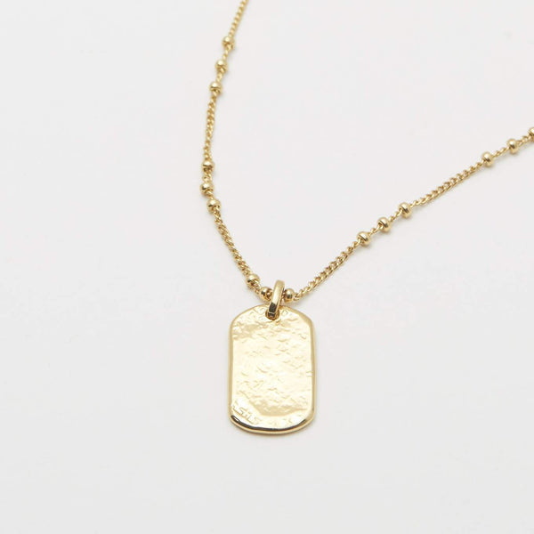 Gorjana Griffin Dog Tag Necklace in Gold