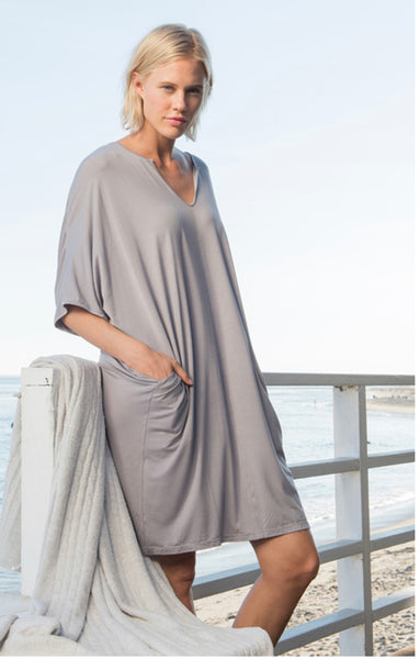 Barefoot Dreams LUXE MILK JERSEY® SHORT CAFTAN in Pewter