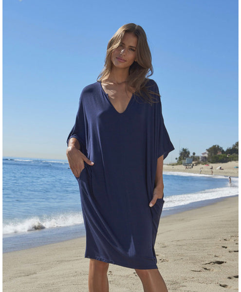 Barefoot Dreams LUXE MILK JERSEY® SHORT CAFTAN in Navy
