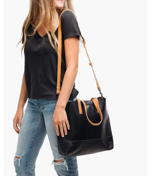 Able Abera Crossbody Tote in Black/Cognac