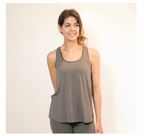 Faceplant Dreams Bamboo Relaxed Tank in Earl Grey