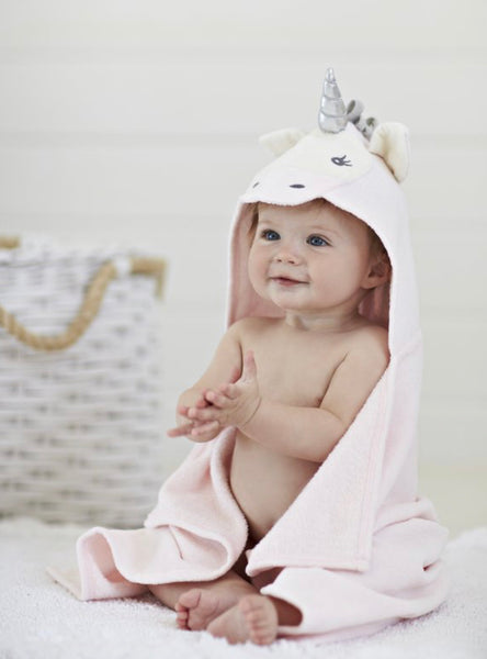 Elegant Baby Pink Unicorn Hooded Baby Bath Towel