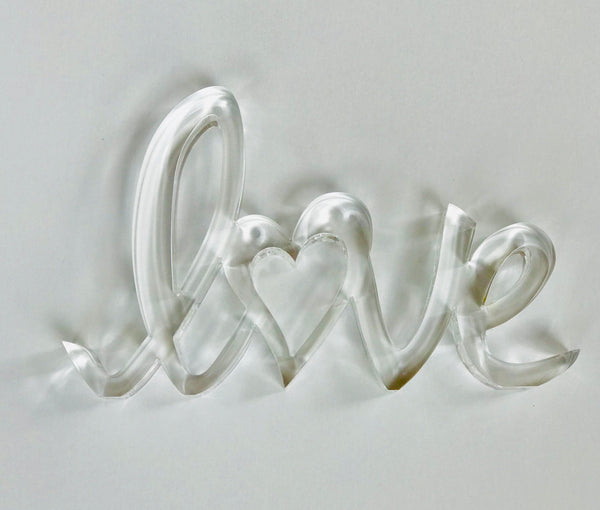 Tara Wilson Beveled Clear Lucite LOVE