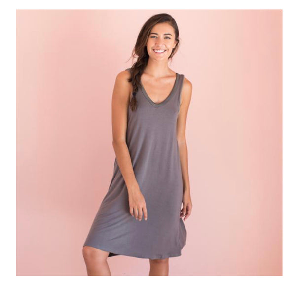 Faceplant Dreams Bamboo V-Neck Nightgown in Earl Grey