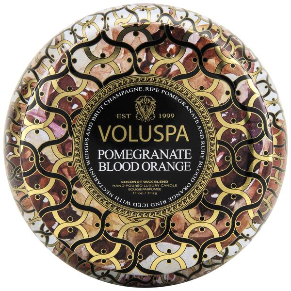 Voluspa Pomegranate Blood Orange 2 Wick Metallo Tin Candle