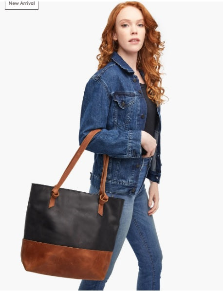 Able Rachel Zip Top Tote in Black/Whiskey