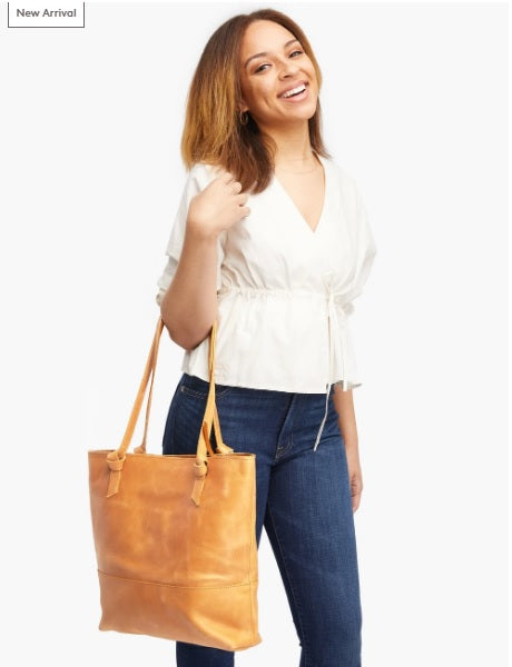 Able Rachel Zip Top Tote in Cognac