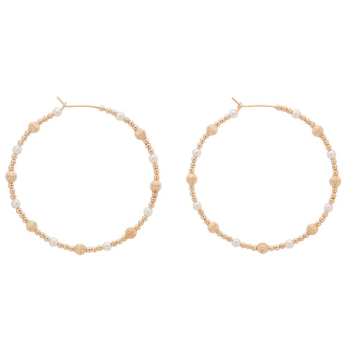 "Enewton 1.75"" Beaded hoop in Dignity Gold Sincerity Pattern with Pearl"
