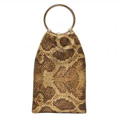 Whiting and Davis Python Bracelet Pouch Brown