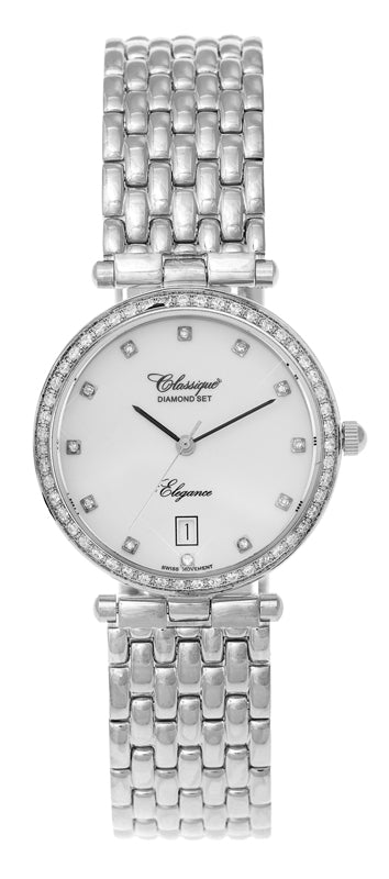 Diamond Bezel Quartz Watch with Mother of Pearl Dial