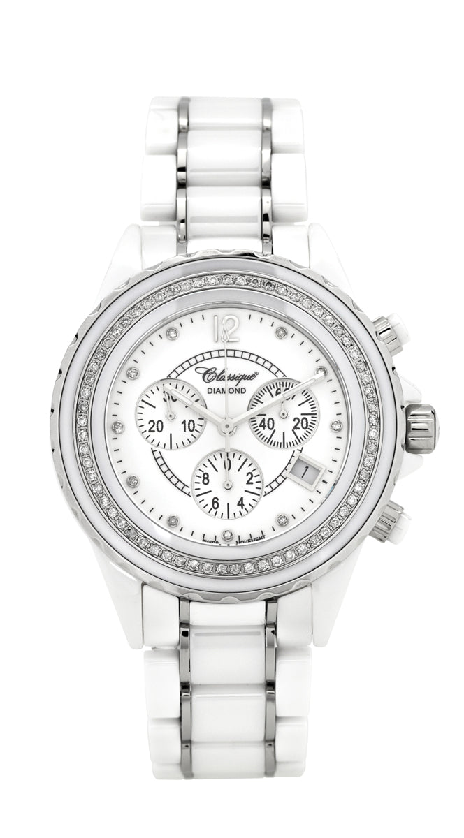 Chronograph Diamond Set White Ceramic Swiss Quartz Watch