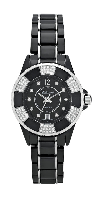Diamond Set Ceramic Swiss Quartz Watch