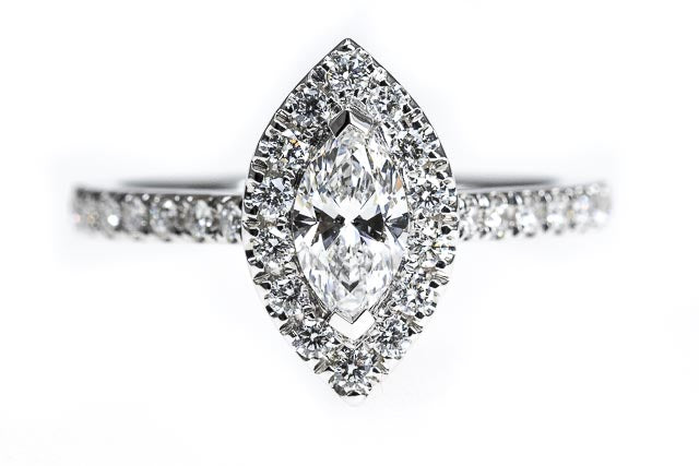 18ct Gold Marquise Halo Diamond Engagement Ring