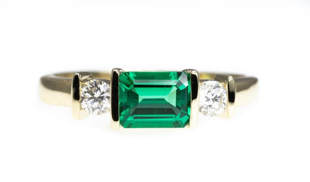 9ct Gold Biron Emerald and Diamond Ring