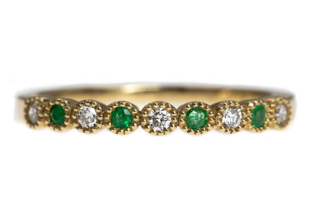 9ct Gold Rubover Set Emerald and Diamond Band with Milgrain Finish