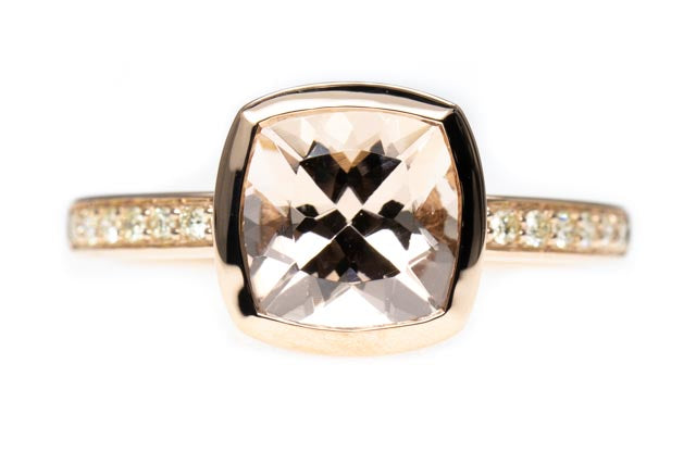 9ct Gold Morganite Dress Ring with Diamond Band