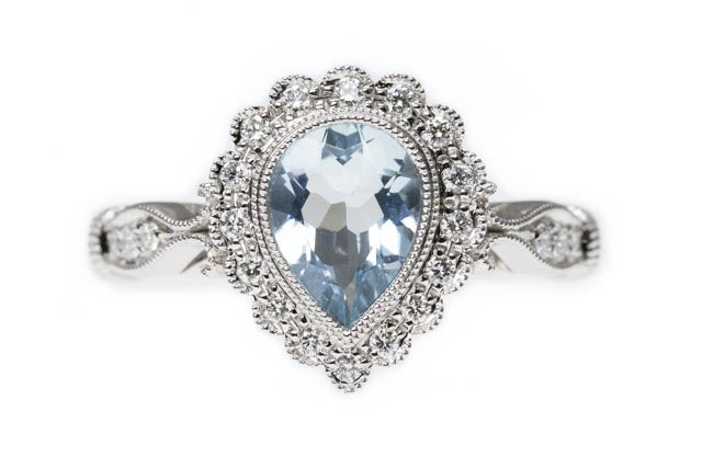 9ct Gold Antique Inspired Aquamarine and Diamond Halo Ring