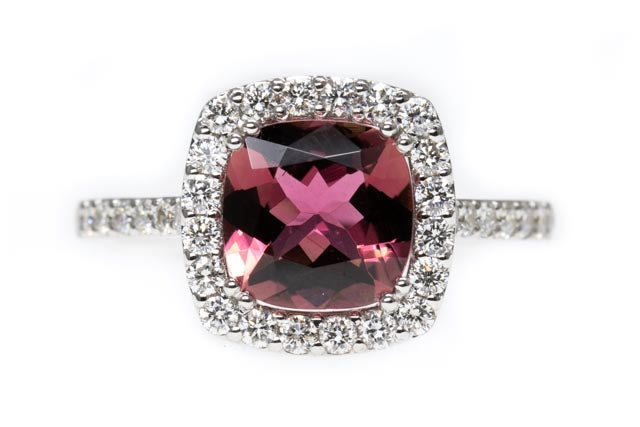 18ct Gold Pink Tourmaline and Diamond Halo Ring