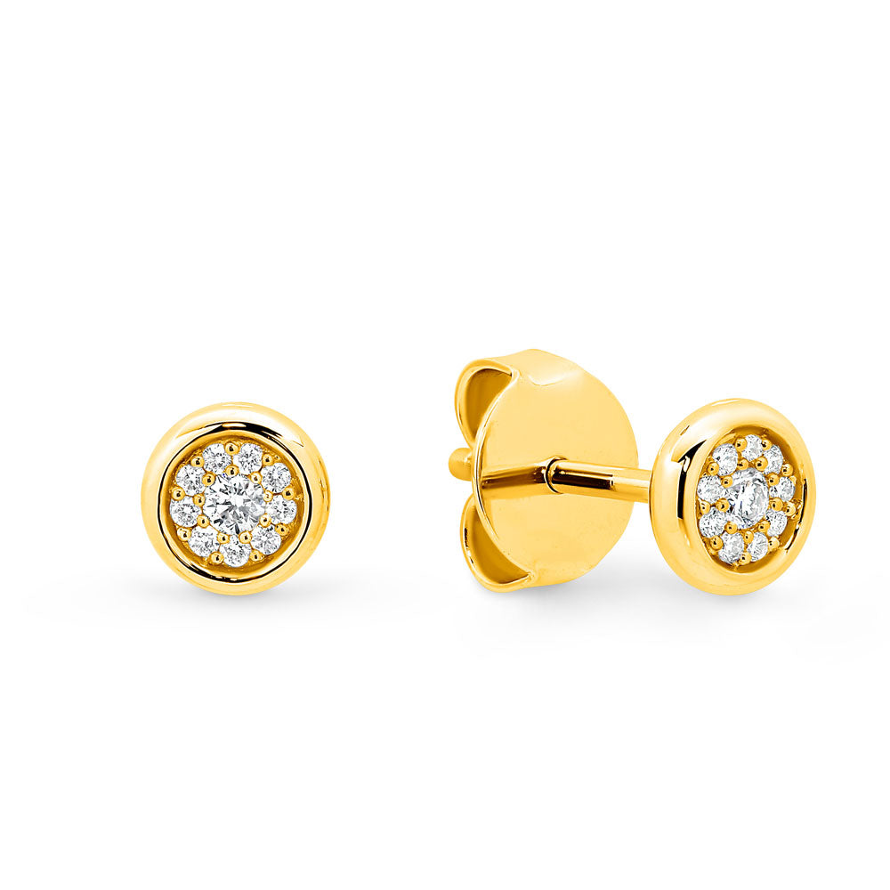 9ct Gold Circle Pave Diamond Stud Earrings