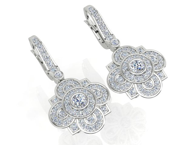 18ct Gold Diamond Art Deco Diamond Cluster earrings