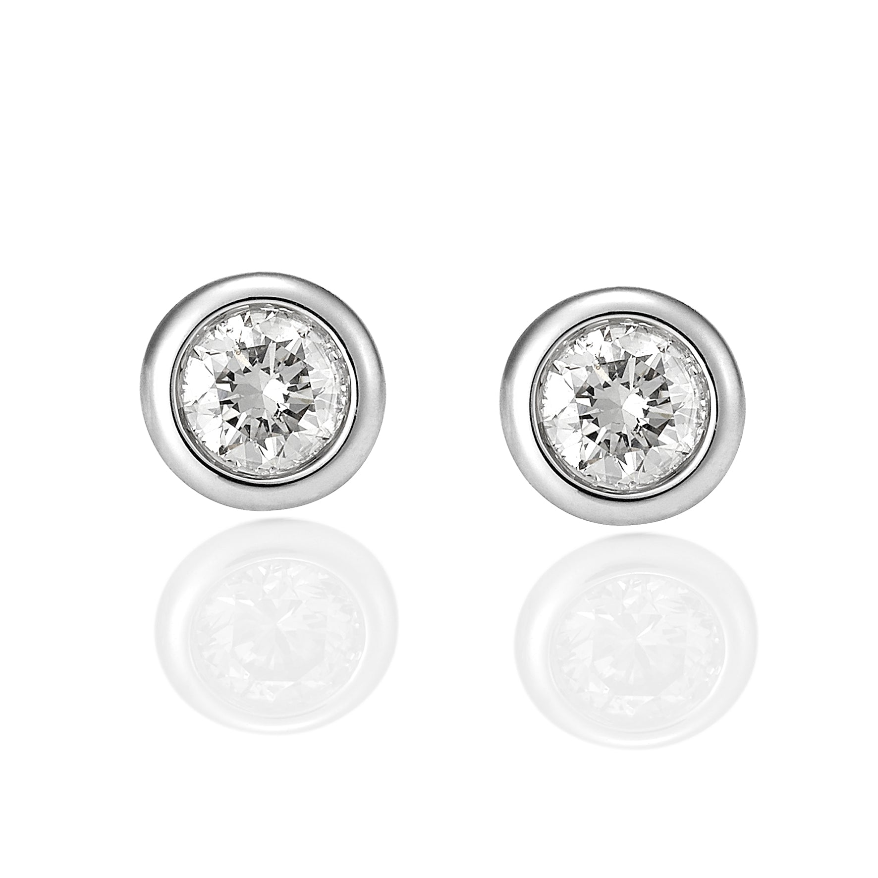 18ct Gold Bezel Set Diamond Studs