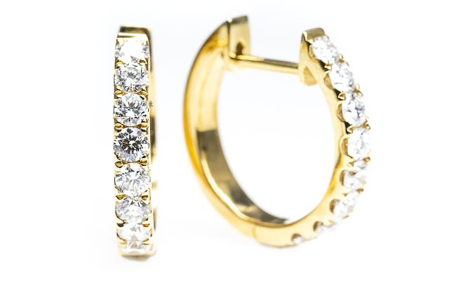 18ct Gold Round Claw Set Diamond Huggie Earrings