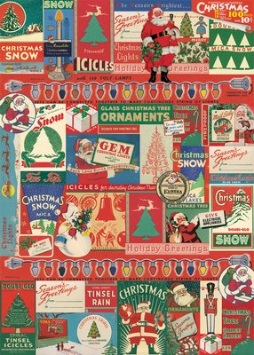 Vintage Christmas Mica Snow Reproduction Poster