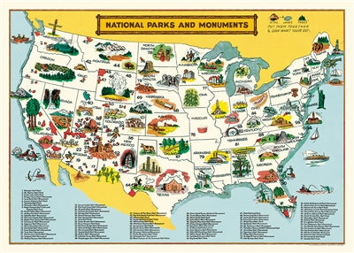 National Parks Map Vintage Reproduction Poster