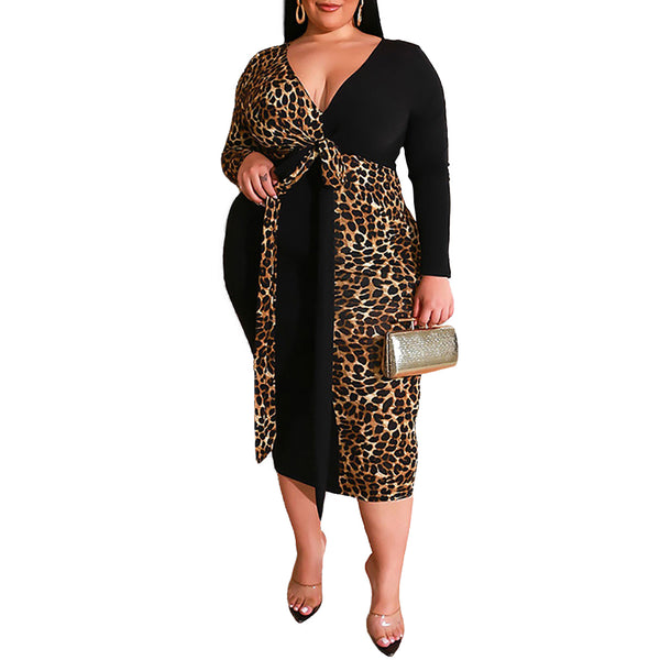 Leopard Print Sexy Deep V Party Dress