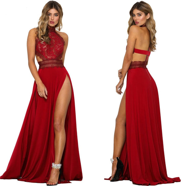 Elegant Backless High Split Evening Gown