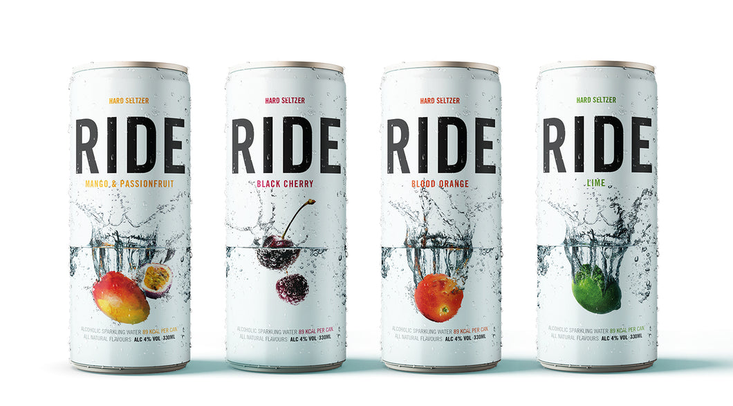 4 cans x 330ml Ride Hard Seltzer - 4%