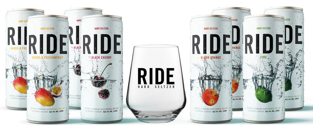 Mixed Case of 8 x 330ml Ride Hard Seltzer - 4% and a Ride Glass