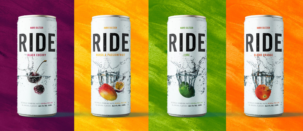 Mixed Case of 12 x 330ml Ride Hard Seltzer - 4%