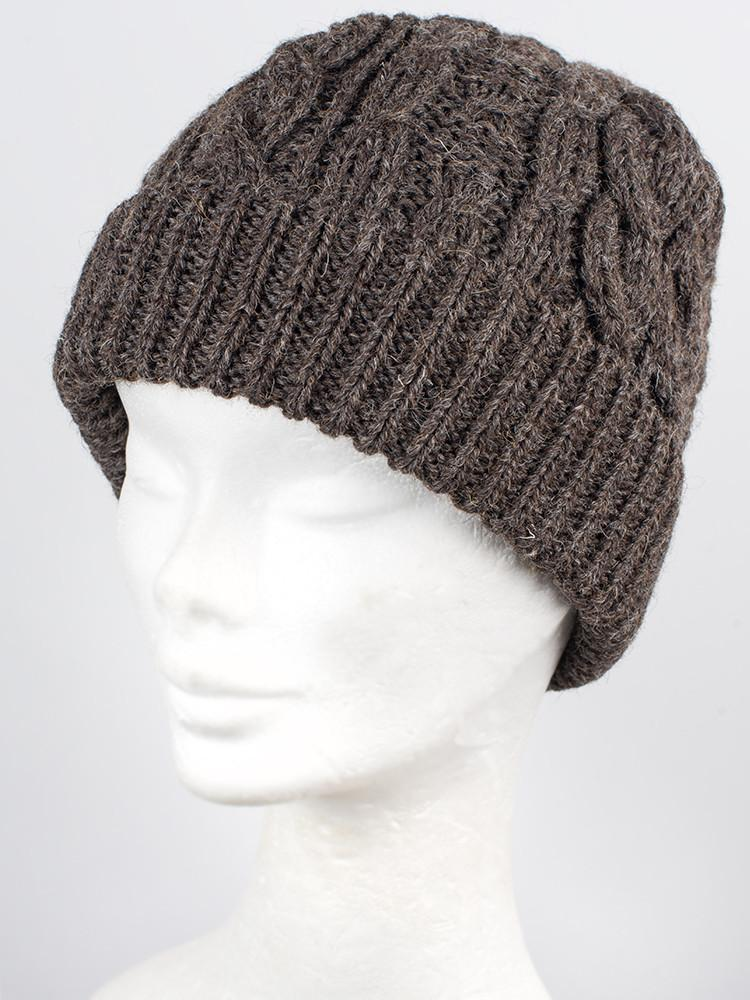 Dark Grey - Natural undyed 100% wool cable hat