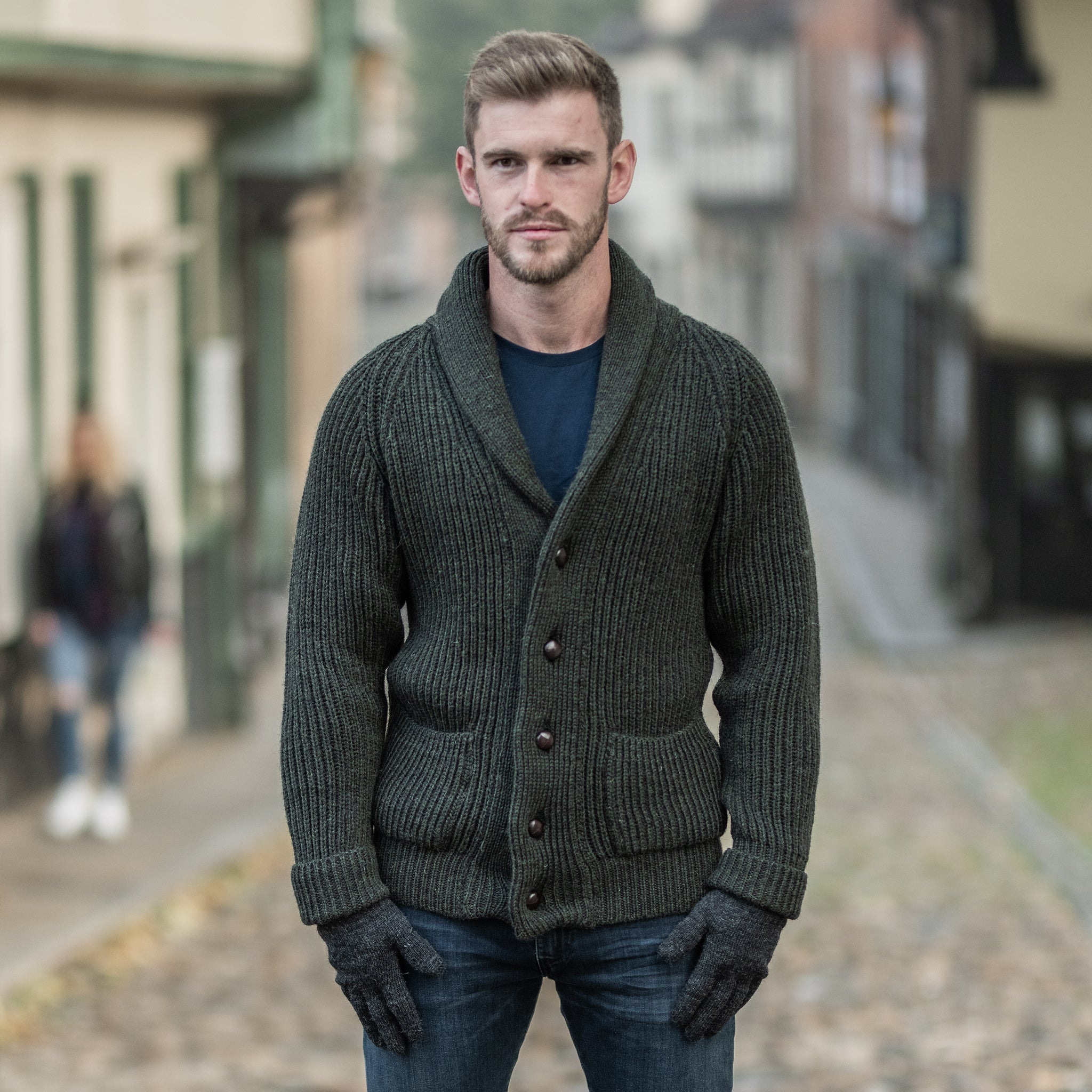 Moss Green pure wool shawl collar cardigan