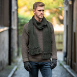 Moss Green pure wool Ribbed Scarf